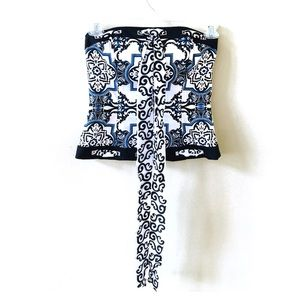 WHBM Moroccan Print Strapless Top with Silk Sash